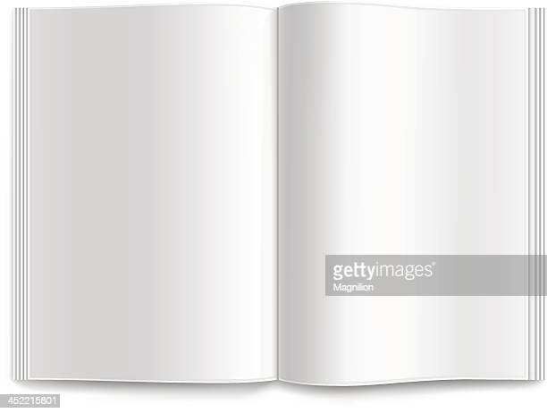 Opened blank magazine isolated on a white background