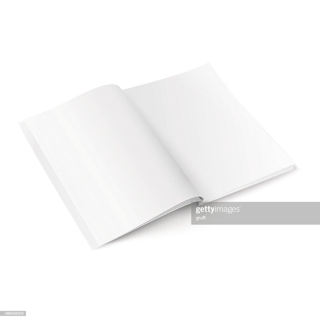 Opened blank magazine template illustration