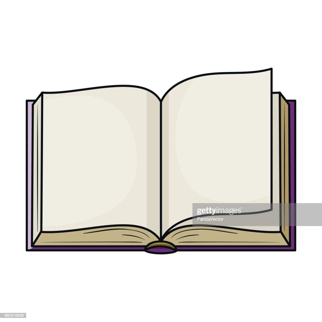 Icone Representant Un Livre Ouvert En Style Cartoon Isole
