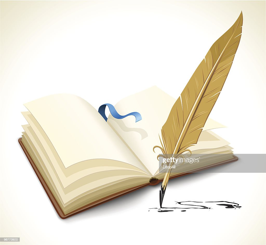 opened book with ink feather tool