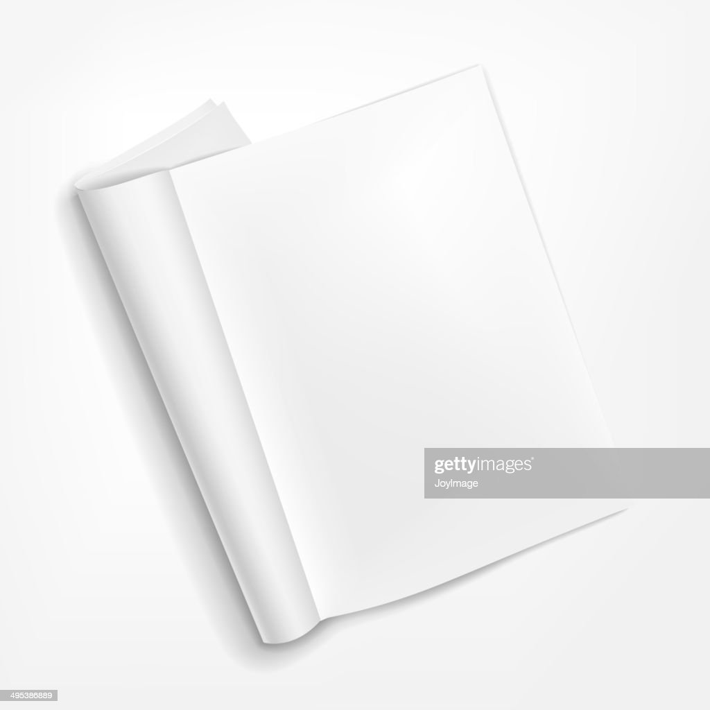 opened booklet on white background