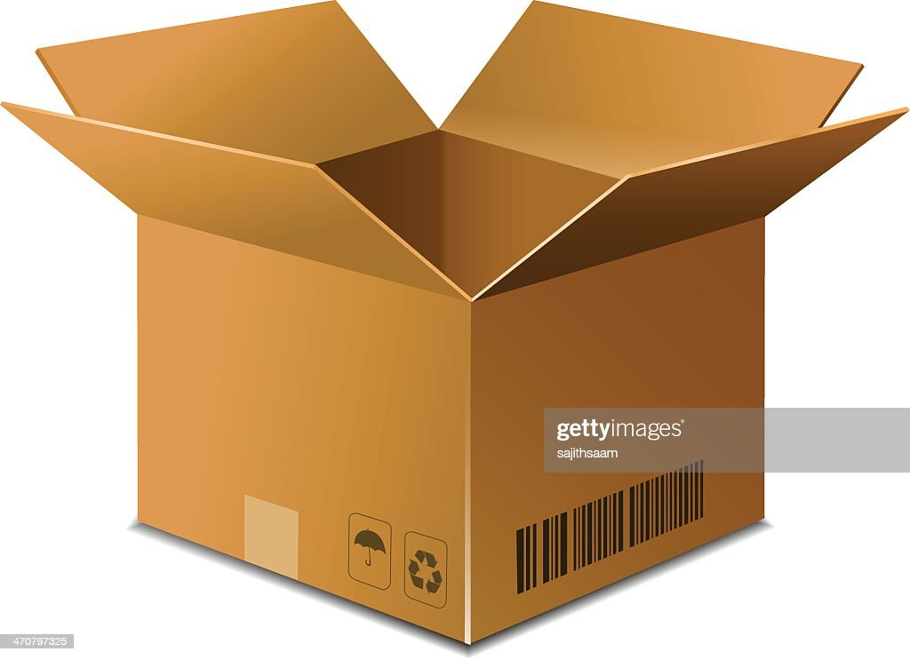 Opened brown carton box on white background