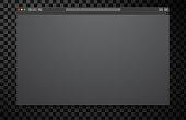 Opened browser window black blank template.