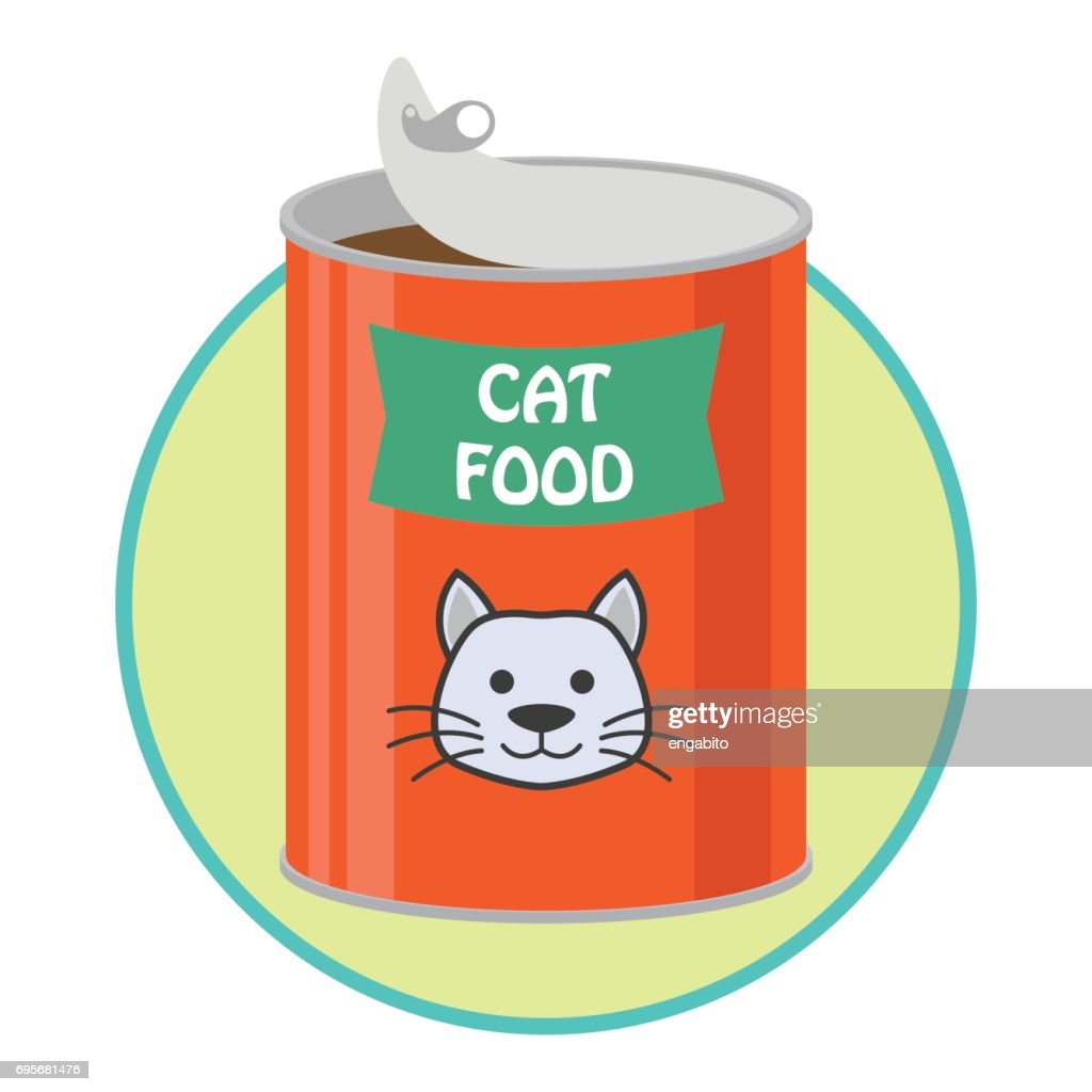 opened cat food can / pet toys accessories. vector illustration