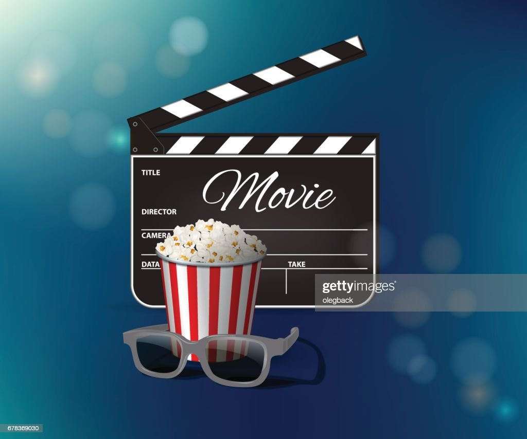 Opened clapperboard, popcorn and 3D glasses on blue background. Vector illustration.