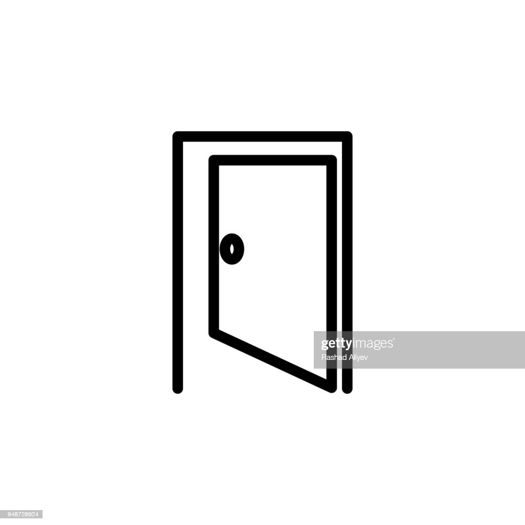 opened door icon. Element of minimalistic icons for mobile concept and web apps. Thin line icon for website design and development, app development
