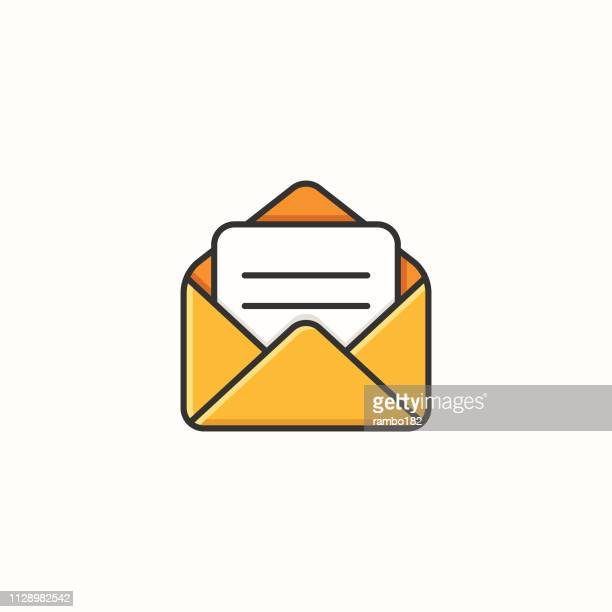 opened email line and color icon. pixel perfect. vector illustration. - e mail inbox stock illustrations