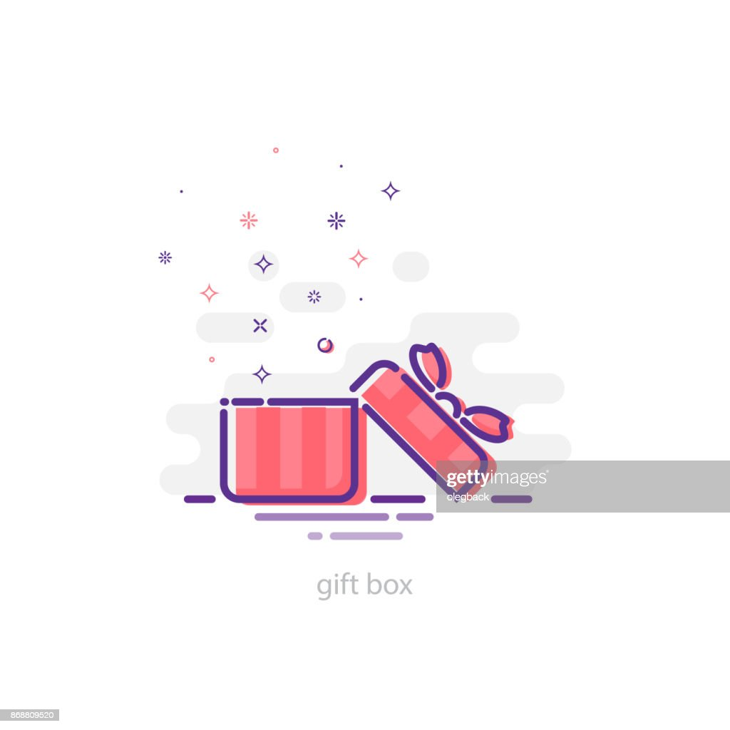 Opened gift box in mbe style illustration. Vector holiday design element.