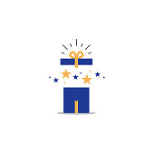Opened gift box, surprise concept, birthday celebration
