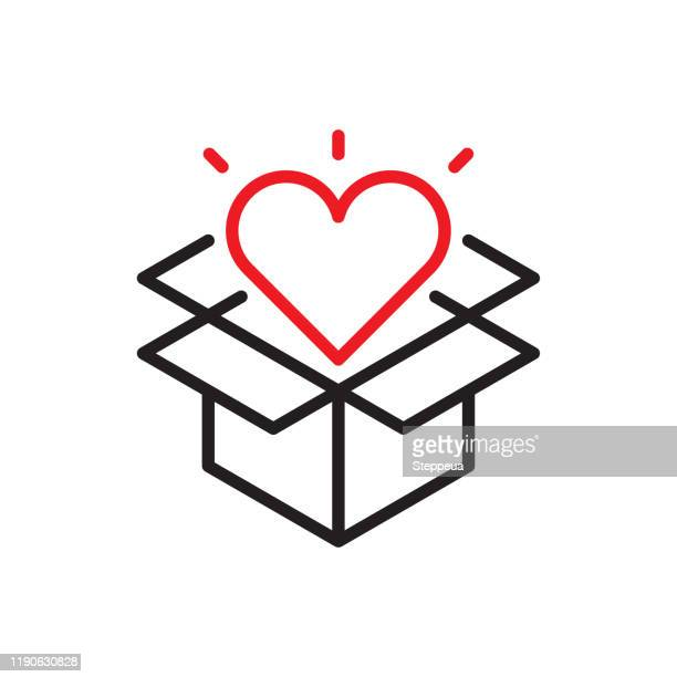 opened gift line icon - giving tuesday stock illustrations
