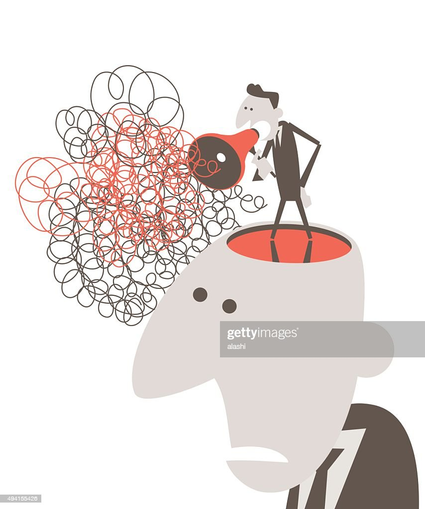 opened head, man speaking through megaphone with tangled messy line : stock illustration
