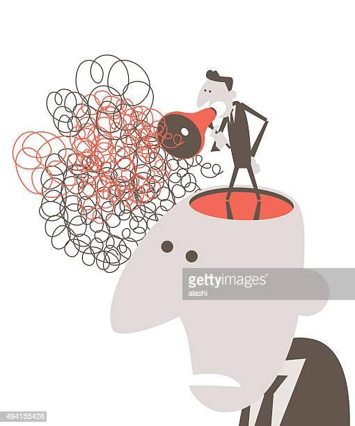 Eröffnete Kopf Mann spricht mit Megafon mit Verheddert Unordentlich line
