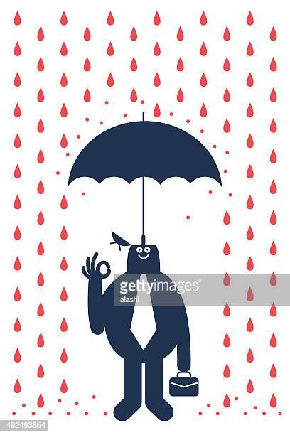 Opened head smiling businessman with briefcase under umbrella in rain