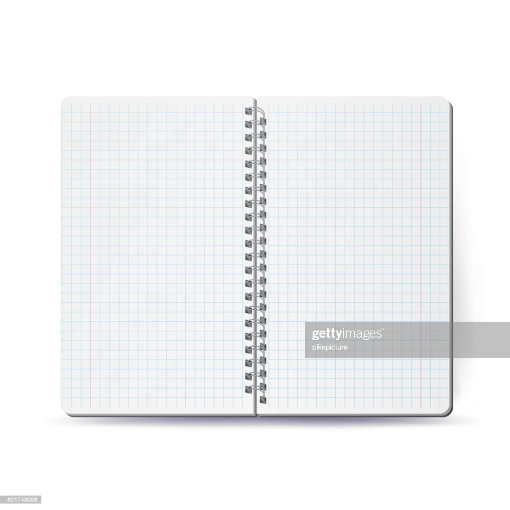 Opened Notebook With Coil Spiral. Vector Spiral Notepad. Clean Mock Up For Your Design. Vector illustration