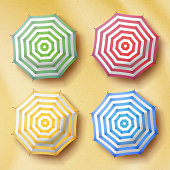 Opened Parasol On Sand Beach Background. Top View. Colorful Umbrellas Sign. Tropical Illustration