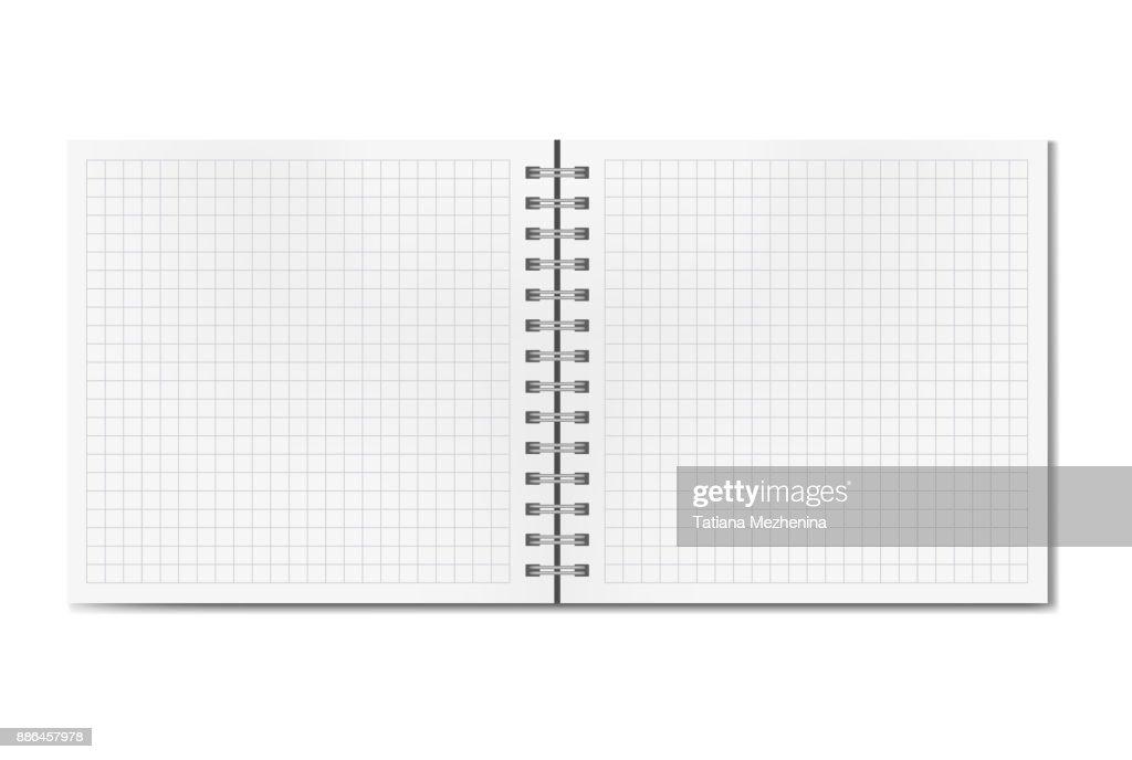Opened realistic square ruled sketchbook mockup