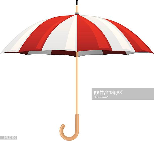 opened red and white umbrella against a white background. - sleet stock illustrations, clip art, cartoons, & icons
