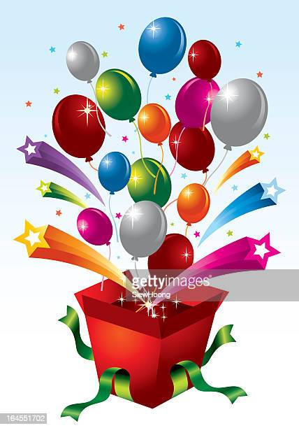 Opened red cartoon gift box with balloons and stars