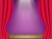 Opened red curtain on the theatre stage, Vector illustration.
