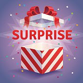 Opened surprise gift box