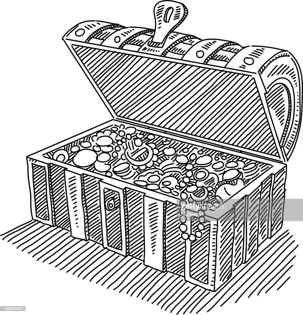 Opened Treasure Chest Drawing High-Res Vector Graphic ...