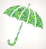 Opened Umbrella Nature and Environmental Conservation Icon Pattern