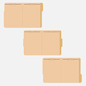 Opened variously tabbed file folders with fastener to keep paper sheets