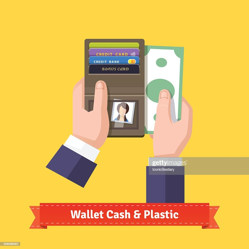 Opened wallet in hands flat icon