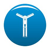 Opened zip icon vector blue