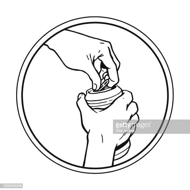opening a can of beer - drink can stock illustrations, clip art, cartoons, & icons