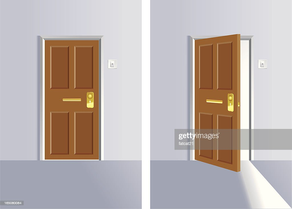 Opening and close door : stock illustration