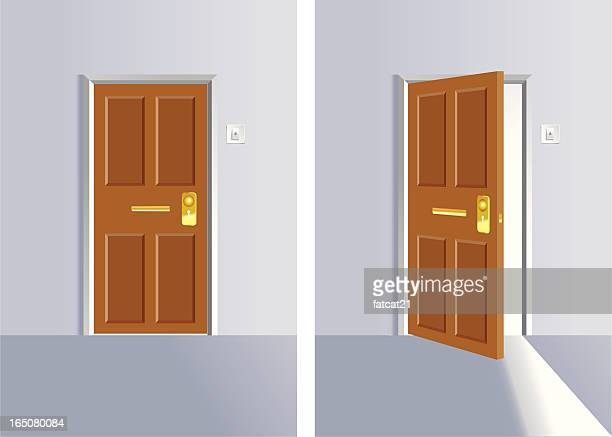 opening and close door - door frame stock illustrations, clip art, cartoons, & icons