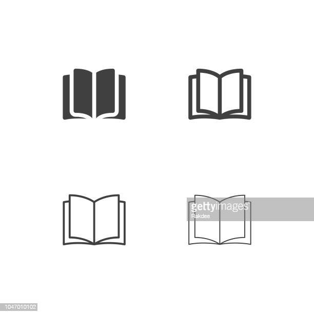 opening book icons - multi series - book stock illustrations