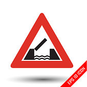 Opening bridge icon. Opening or swing bridge ahead road sign. Vector illustration of triangular traffic sign for opening bridge isolated on white background.