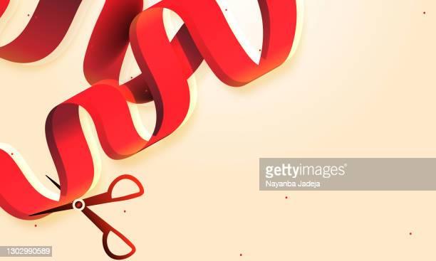 illustrations, cliparts, dessins animés et icônes de cérémonie d'ouverture avec l'illustration de stock vectoriel de rubans rouges - cérémonie du ruban