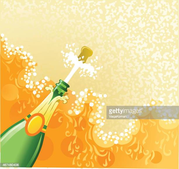 opening champagne bottle with froth and cork flying - champagne cork stock illustrations, clip art, cartoons, & icons
