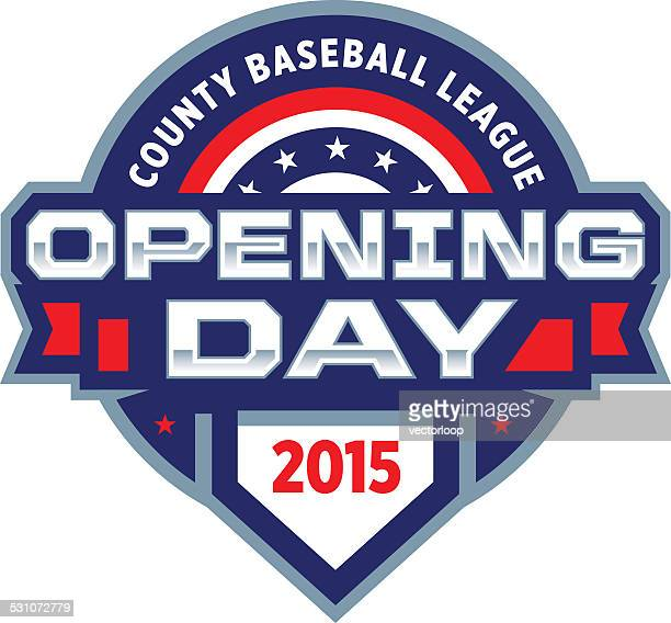 opening day logo - day 1 stock illustrations