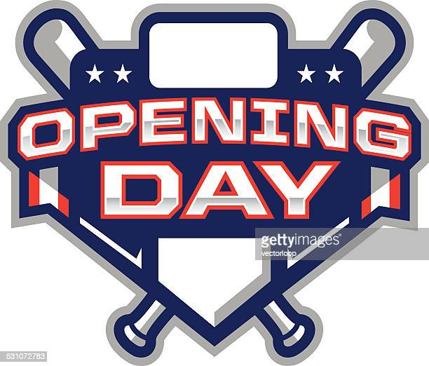 opening day logo - baseball stock illustrations, clip art, cartoons, & icons