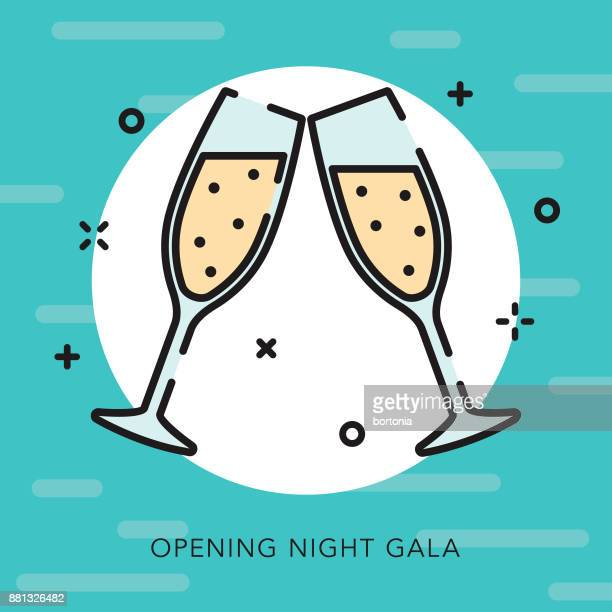 illustrazioni stock, clip art, cartoni animati e icone di tendenza di opening night gala open outline arts & culture icon - premiere event