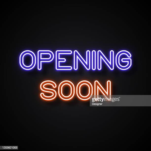 opening soon neon style, design elements - opening event stock illustrations