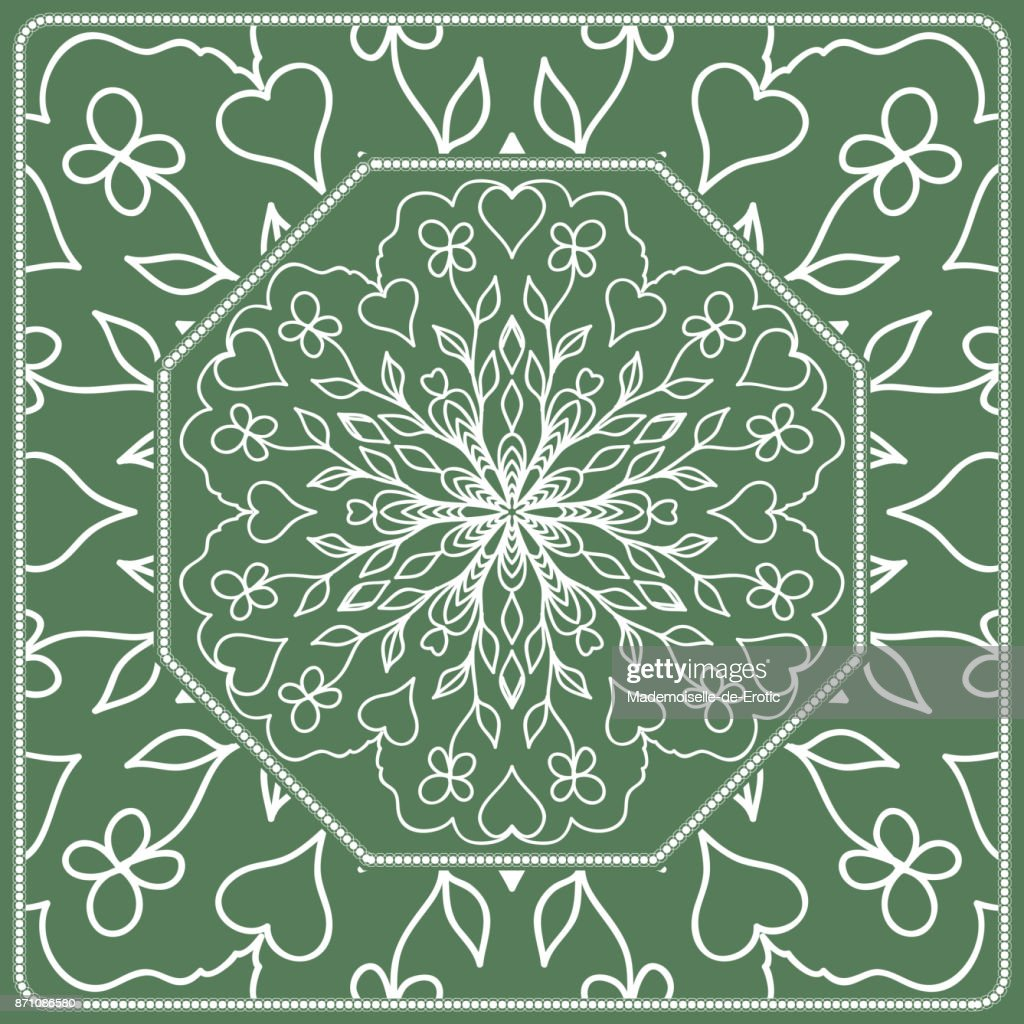 Openwork geometric Pattern for Print. Vector illustration. Green color. Template print for Textile, Fabric