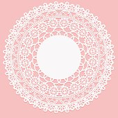Openwork white napkin. Lace frame round element on pink background.