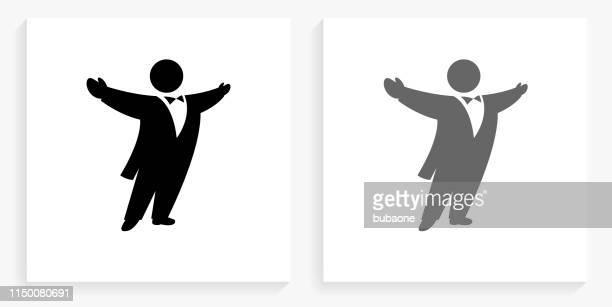 illustrazioni stock, clip art, cartoni animati e icone di tendenza di icona di opera singer black and white square - opera lirica