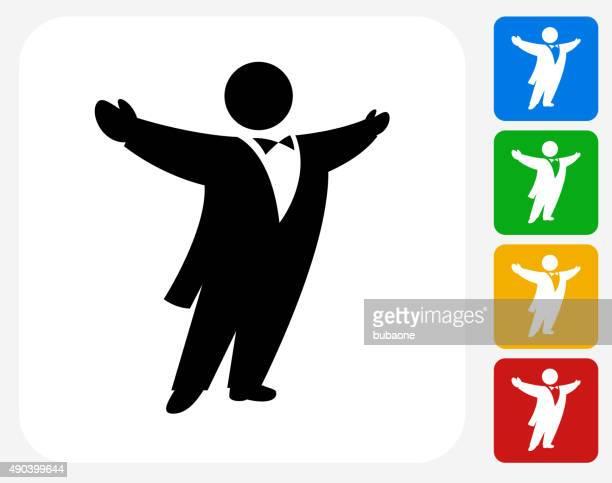 Opernsänger Symbol flache Grafik Design