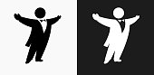 Opera Singer Icon on Black and White Vector Backgrounds