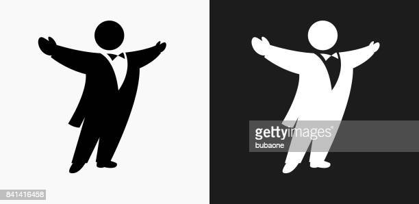 opera singer icon on black and white vector backgrounds - opera stock illustrations
