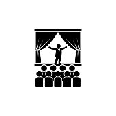 opera singer on stage icon. Element of theater and art illustration. Premium quality graphic design icon. Signs and symbols collection icon for websites, web design, mobile app