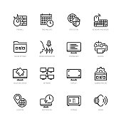 Operating system tools vector icon set in thin line style