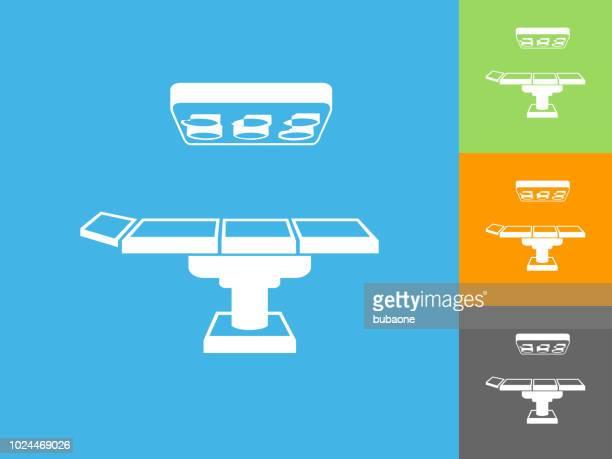 青の背景に動作テーブル フラット アイコン - 手術台点のイラスト素材/クリップアート素材/マンガ素材/アイコン素材