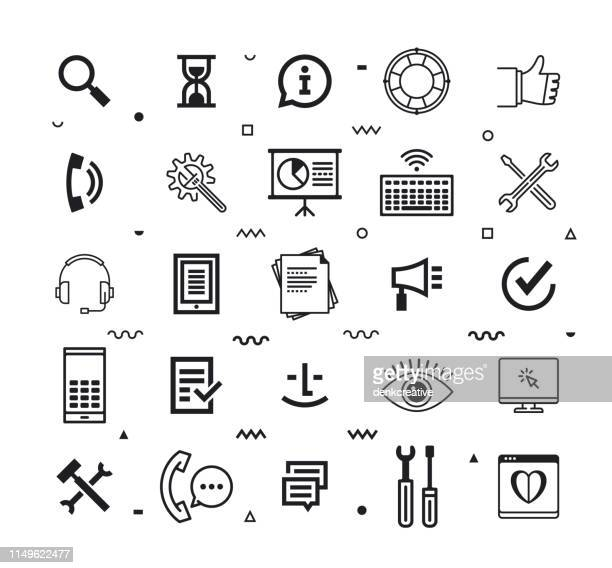 operations & customer experience line style vector icon set - adulation stock illustrations, clip art, cartoons, & icons